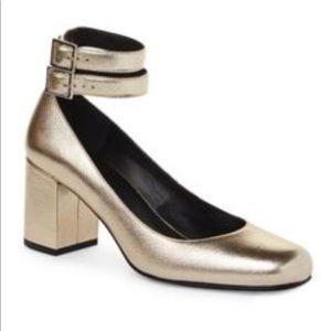 New Saint Laurent Babies Gold Dual Ankle Sandals